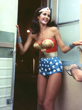 Lynda Carter in Wonder Woman kit, coming out of her trailer
